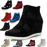 Women's Hidden Wedge Heel Trainers Suede Ankle Boots High Top Lace Comfort Shoes