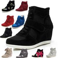 New Women's hidden wedge heel suede ankle boots autumn comfort high top trainers