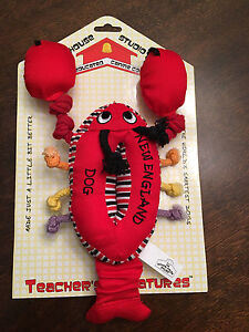 New Schoolhouse Plush New England Lobster Rope Tug Snuggle Fetch Squeaky Dog Toy