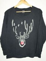 Esmara Lingere Women's Casual Navy Reindeer Long Sleeve Tee Top Jumper Size L 18