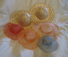 Lot of Six Hobby Hats Art Project Straw Multi Sizes and Colors Doll Hats Display