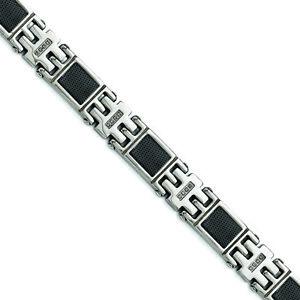 "Chisel Stainless Steel Black IP-plated Mesh1/3ct tw. Diamond Bracelet 8.75"""