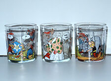 ASTERIX DRINKING GLASS GLASSES (3X) 1990s PROMO NUTELLA HOLLAND