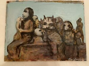 """Robert Broderson """"Gang's All Here"""" Painting on Paper (C)1970, 10x13"""""""