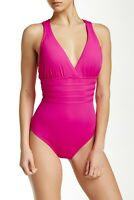 Women's La Blanca Cross Back One-Piece Swimsuit Berry Size 4