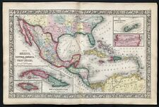 Vintage 1860 MEXICO - TEXAS - CENTRAL AMERICA MAP Antique Original Authentic