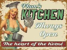 Mum's Kitchen Always Open. The Heart of the Home, Large Metal Steel Wall Sign