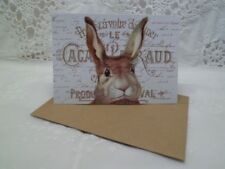 Klappkarte-Geschenkkarte-Grußkarte-Vintage-Retro-Shabby-French-Ostern-Hase-10028