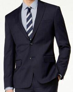 DKNY Men's Modern-Fit Stretch Textured Wool Suit Jacket -Navy Blue- 46Reg