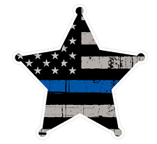 Badge Shape (V54) Thin Blue Line Vinyl Decal Sticker Car Laptop/Netbook Window