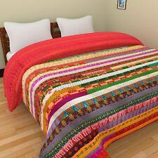 Handmade Vintage Gudri Pattola Silk Ekat Single Bedcover Patchwork Kantha Quilt