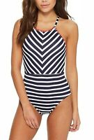 Tommy Bahama Womens 0164 Breton Stripe High-Neck One-Piece Swimsuit Size 8