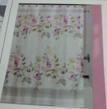 """New Creative Bath Fabric Shower curtain 72"""" x 72"""" Cabbage roses pink /off white"""