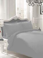 100% Egyptian Cotton Grey Silver Duvet Cover Bed Set Single Double King Super Kg