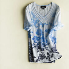 Short Sleeve Basic Tee Machine Washable Floral T-Shirts for Women