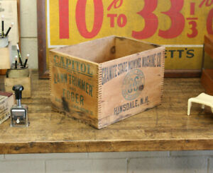 Vtg Industrial Granite State Lawn Mower Shipping Wood Advertising Crate Box 1940