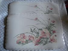 2 Tisch Platz Set abwaschbar Kunststoff weiß mit Blumen 43 x 29 cm dekorativ NEU