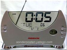 REEKIN Glas Radiowecker Uhrenradio Uhr Wecker Alarm Thermometer FM Scan Radio K1