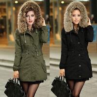Winter Women faux fur Thicken Warm Coat Hood Parka Long Jacket Overcoat Outwear