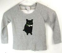 PJ by Peter Jensen Womens Small Black Cat Kitty Sweater Gray Sweatshirt