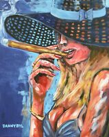 Cohiba Cuban Cigar Babe Original Art Painting DAN BYL Contemporary Modern 4x5ft