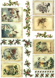 Rice Paper for Decoupage Scrapbook and Crafts Winter Tag Vintage 883