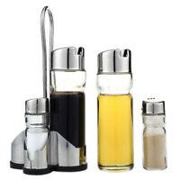 5X Salt Pepper Oil Sauce Vinegar Dispenser Cruet Condiment Set Glass Contai P3B8