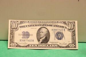 SERIES 1934 D - Silver Certificate - $10 - Blue Seal AU