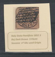 FRANCOBOLLI 1853 STATO PONTIFICIO 3 BAJ USATO A/4350