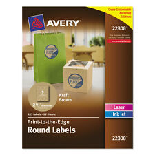 """Avery Round Print-To-The-Edge Labels, 2 1/2"""" Dia, Brown Kraft, 225/pk"""