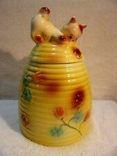 Vintage ~ Kitten on Honey Bee Hive Cookie Jar 1950's American Bisque - Excellent