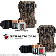 2 Pk Stealth Cam PX18 8MP Camo Bundle Game Trail Deer Camera Cam Batteries + SD