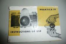 Instructions CAMERA PRAKTICA IV CD/Email