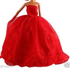 Hot Handwork soft Princess Party Dress/Evening Clothes/Gown For Barbie Doll  084