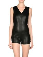 APHERO Black Stretch Leather Playsuit Jumpsuit Catsuit  2 4