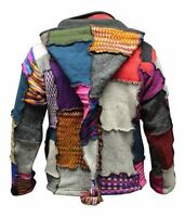 Men's Tye Dye Patchwork Hippie Jacket Fleece Lined Festival Boho Hippy Sweater