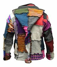 Men's Tye Dye Patchwork Hippie Jacket Fleece Lined Festival Boho Hippy Sweater