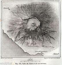 CARTA DEL VESUVIO E DINTORNI. Golfo di Napoli.Campania Felix. Stampa Antica.1880