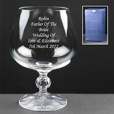 personalised engraved brandy glass father of the bride father of the groom gifts