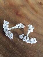 925 Sterling Silver Tear Drop Front to Back Ear Jackets Earrings