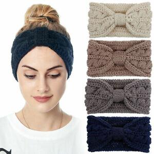 Knitted Braid Knot Headband Head Wrap Elastic Wool Ear Warmer Hairband Turban UK