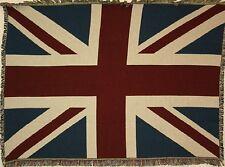 Brand New Child-Sized `UNION JACK` British Flag Tapestry Throw Blanket - Fringed