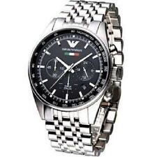 ARMANI MENS TAZIO CHRONOGRAPH WATCH AR5983 BLACK DIAL METAL STRAP ,COA, RRP £399