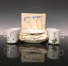A Set 4 New Henry Evans Floral Portraits Langenthal Tea Cups & Saucers