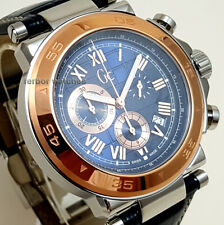 GUESS COLLECTION CHRONO STAINLESS STEEL LEATHER SAPPHIRE DATE 100m X90015G7S