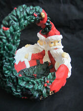 vintage Dept 56 heavy resin small basket figural Santas