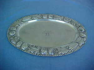 1930s GERMAN 800 SILVER 25TH ANNIVERSARY PLATTER REPOUSSE HUGE HEAVY 677 GRAMS
