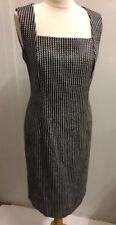 Jaeger Ladies Black White Sleeveless Sheath Dress Size 12 With Tags Lined