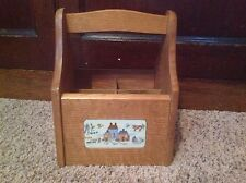Vintage Handled Wooden Utensil Caddy -Taiwan ROC - Country Charm Four Dividers