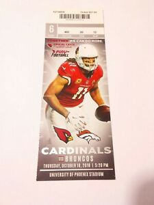 2018 Larry Fitzgerald Arizona Cardinals Denver Broncos Football Full Ticket Stub